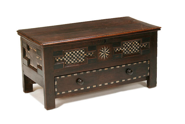 An unusual 18th century oak and painted coffer possibly Dutch Pennsylvanian