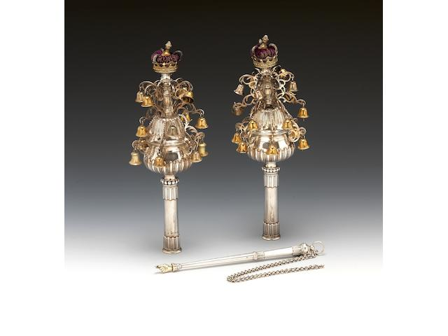 A highly important and rare pair of George III silver and parcel-gilt Torah Finials (Rimmonim) and matching Torah pointer (yad), maker's mark I(?) over-striking (?)R or IR, the latter possibly for John Robins, London 1783, the Torah pointer (Yad) stamped with lion passant only,  (3)