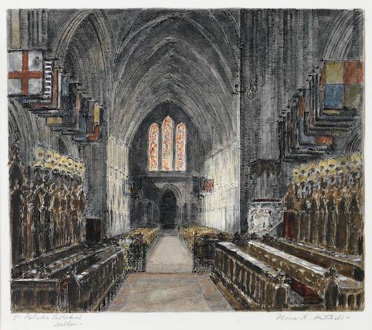 Flora H. Mitchell (Irish, 1890-1973) Interior of St Patricks Cathedral, Dublin 30.5 x 34.3 cm. (12 x 13 1/2 in.)
