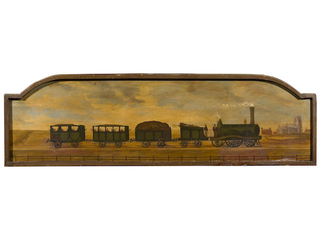 English Naive School (late 19th/early 20th Century) A painted pub sign depicting an early steam train-possibly relating to The Railway Tavern at Holt 126cm wide.