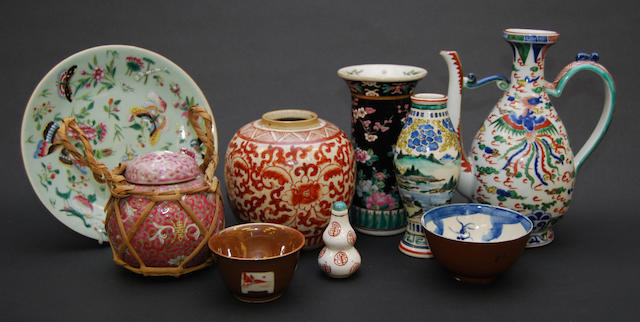 A group of mainly Chinese enamelled ceramics,