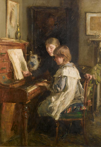 Walter Frederick Osborne R.H.A. (1859-1903) The Music Lesson 76 X 53.5 CM. (30 X 21 IN.)