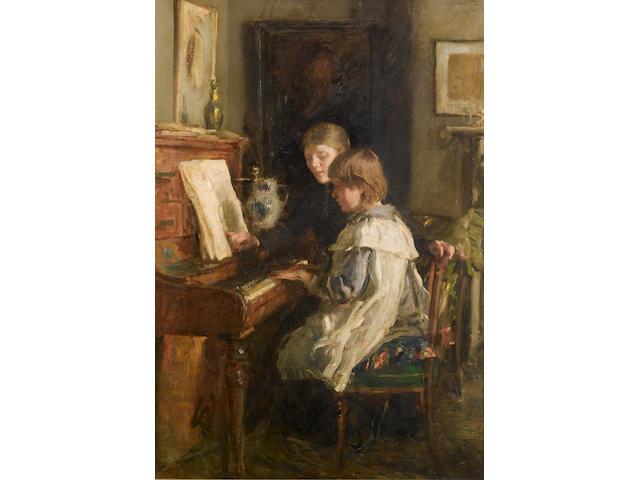 Walter Frederick Osborne R.H.A. (1859-1903) The Music Lesson 76 X 53.5 CM. (30 X 21 IN.)