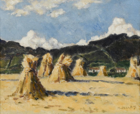 Mainie Jellett (Irish, 1897-1944) Corn Stacks, Donegal 23 x 28 cm.(9 x 11 in.)