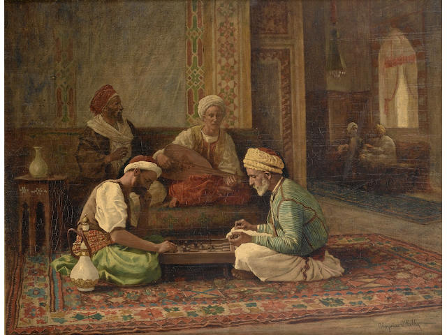 Aloysius C. O'Kelly (Irish/American, 1850-1928) Game of draughts 31.2 x 40.7 (11 1/4 x 16 in.)
