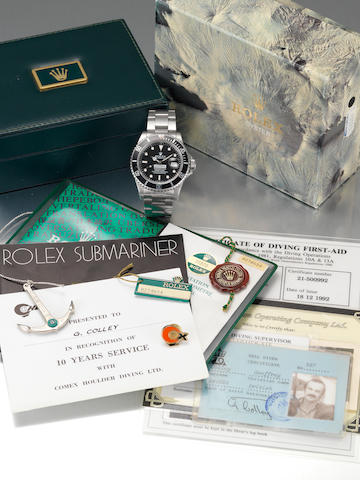 Rolex. A rare stainless steel automatic centre seconds divers watch made for Comex together with Rolex papers, Comex lighter, keyring and other related material Submariner, 'Comex ???' Ref:16800, Serial No.8274654, 1985