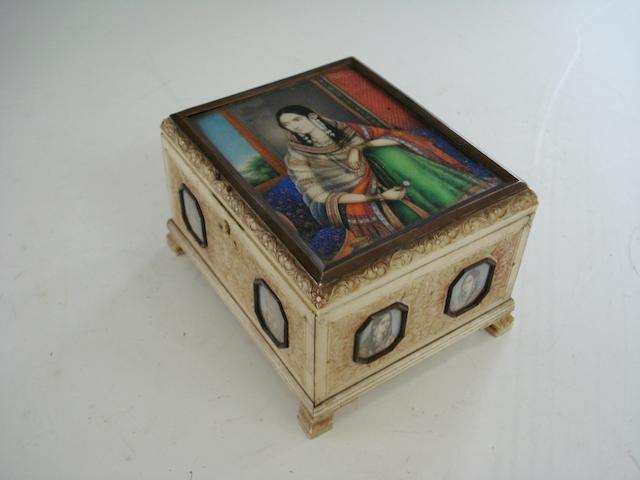 A carved ivory box 19th century