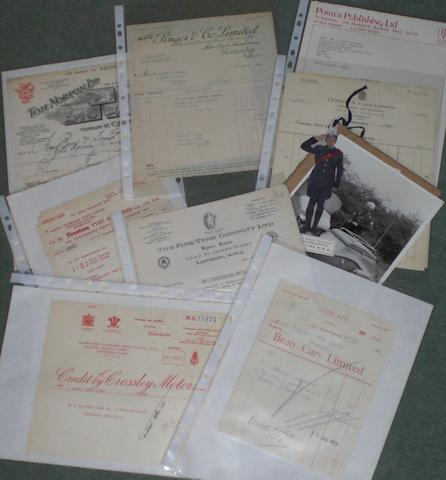 A quantity of assorted motoring related invoices and letters,