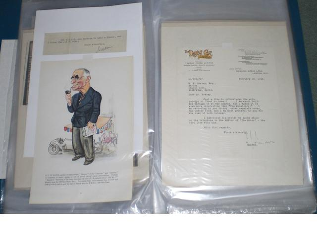 A quantity of letters and ephemera relating to trials and racing driver Captain Norton E Bracey,