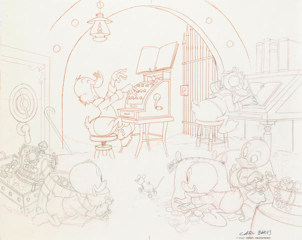 Carl Barks - an original pen and pencil sketch, Spoiling the Concert,