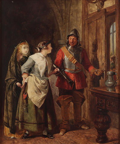 "John Phillip RA HRSA (British, 1817-1867) ""Taking a bribe"" (from Scott's 'Old Mortality')"