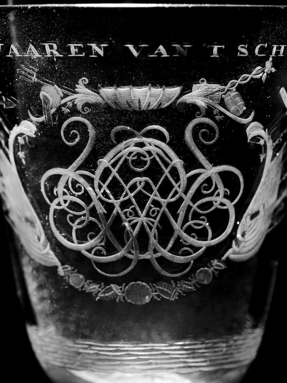 A fine Dutch-engraved VOC goblet circa 1770
