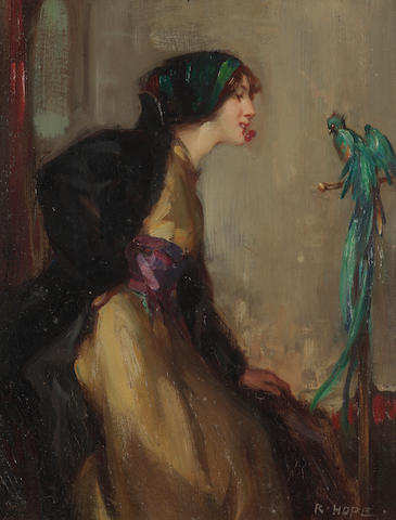 Robert Hope, RSA (British, 1869-1936) 'Lady with an exotic bird'