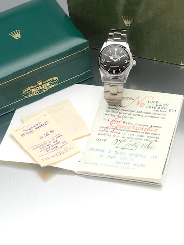 Rolex. A fine and rare stainless steel centre seconds automatic wristwatch with original Rolex box, guarantee booklet and bill of sale Explorer, Ref: 1002, Made in February 1966, Sold 27th July 1966