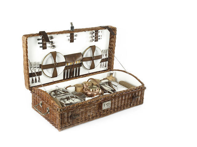 Massive and quite exceptional c. 1920's G.W. Scott and Sons , 144, Charing Cross Road, London WC2 unique and gigantic 6 person fine woven dark brown wicker cased suitcase drinking and sandwich picnic set. c.1905.