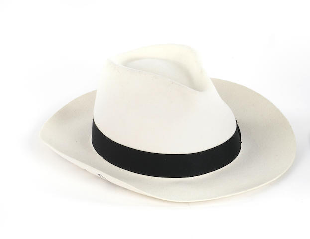 Michael Jackson: an autographed white fedora,