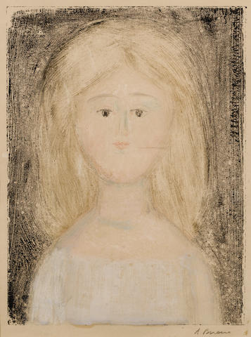 Antonio Bueno (Italian, 1918-1985) Portrait of a girl  Monotype, signed in pencil