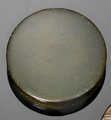 A 19th century Mauchline Ware sycamore and chequered circular snuff box, by Smith, Mauchline,