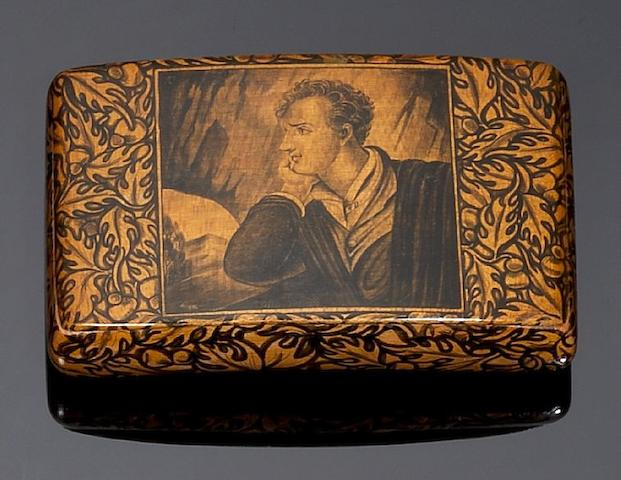 An early 19th century Mauchline Ware sycamore and pen work snuff box, by McKerrow, Cumnock,