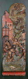 A late Medieval / Early Renaissance South German carved wood and polychrome decorated relief panel depicting Christ on the road to Calvary circa 1500-1520