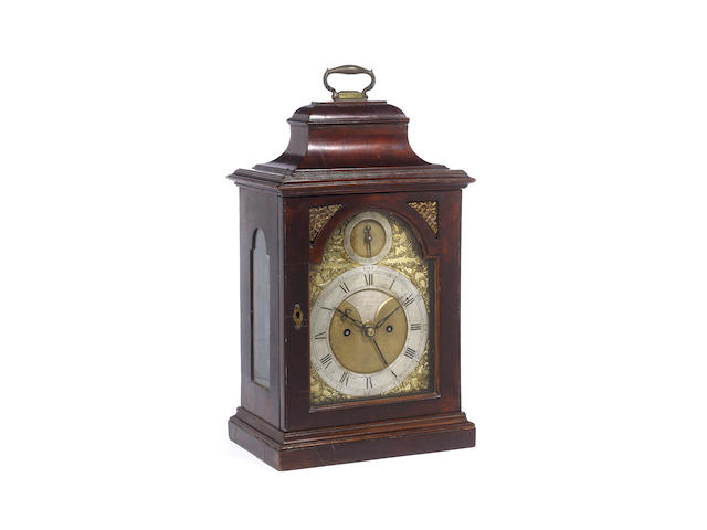 A mid to late 18th century mahogany bell top bracket clock John Taylor, London