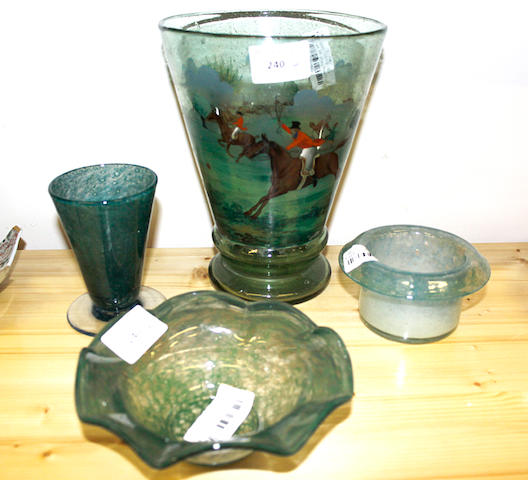 A early 20th Century Monart glass vase, of flared form together with a hand painted glass vase with hunting scenes and two other monart vases. 22cm high. (4)
