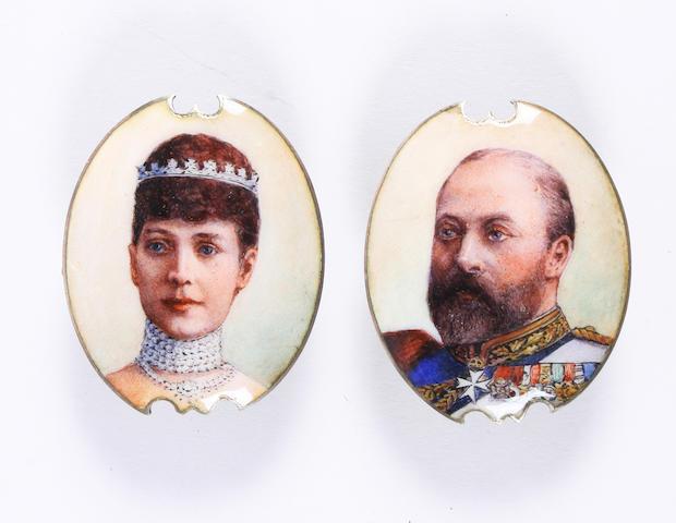 A pair of enamelled portrait bosses