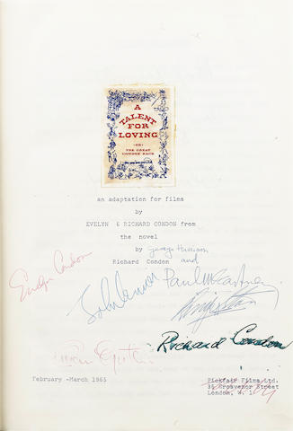 A unique script for 'A Talent For Loving' autographed by the Beatles and Brian Epstein, 1965,