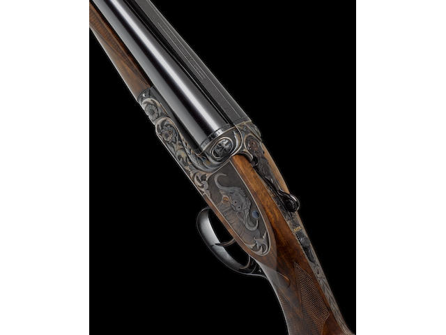 A fine Portsmouth-engraved .470 (Nitro Express) sidelock ejector rifle by Asprey, no. 1529 In its brass-mounted oak and leather case with canvas cover and maker's accessories