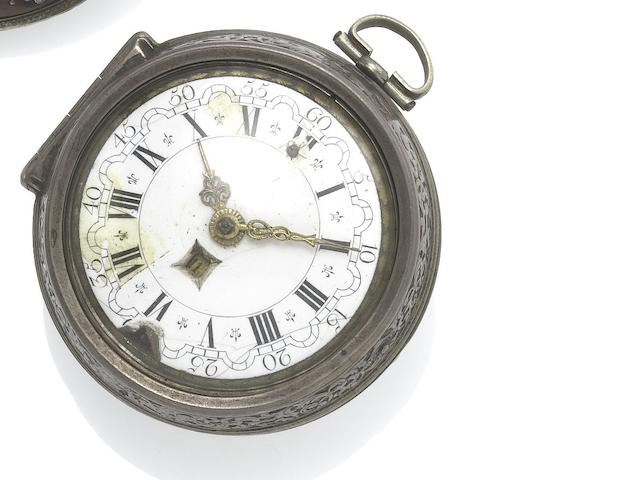 Pau Bramer, Amsterdam. An early 18th century silver pair case verge pocket watch  Circa 1700