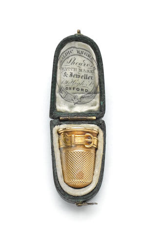 A 19th century gold thimble, unmarked, retailed by Shearo, Oxford,
