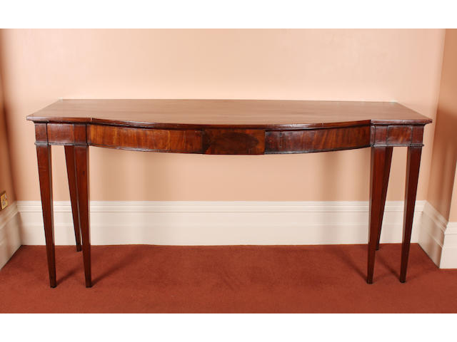 A George III mahogany bow front serving table