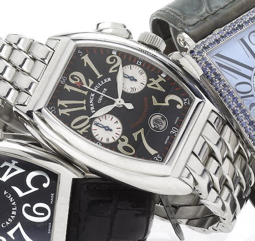 Franck Muller. A fine stainless steel automatic chronograph calendar bracelet watch Conquistador, 1990's, Ref.8002 CC, No.1256,