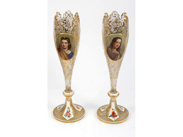 A pair of late 19th Century Bohemian glass gilt decorated slender vase,