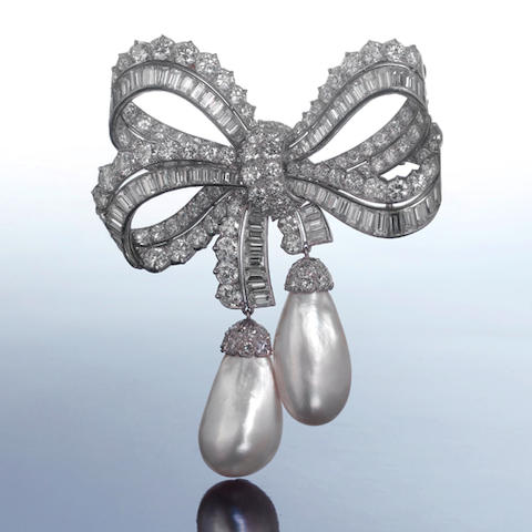 A rare diamond and pearl bow brooch, by Cartier,