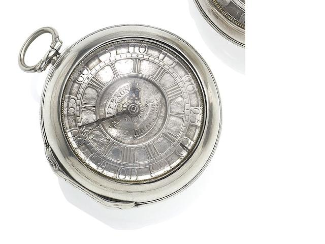 Thomas Vernon. A mid 18th century silver pair case pocket watch with Champlevé dial