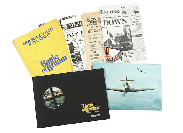 A Battle of Britain marketing folder together with a collection of front of house stills, lobby cards and promotional brochures,