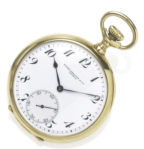Patek Philippe. A fine 18ct gold early 20th century open face keyless lever pocket watch Case No.282591, Movement No.170370, circa 1915