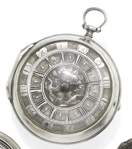 Jasper Harmer, London. A fine early 18th century silver case pocket watch Circa 1710