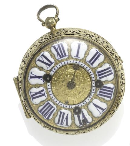 Jaques Mavris à Paris. A fine and very rare late 17th century gilt metal 'onion' pocket watch with alarm Circa 1690