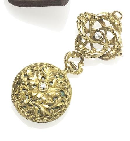 Tiffany & Co. A fine late 19th century 18ct gold and diamond set fob watch with pin broochCirca 1895