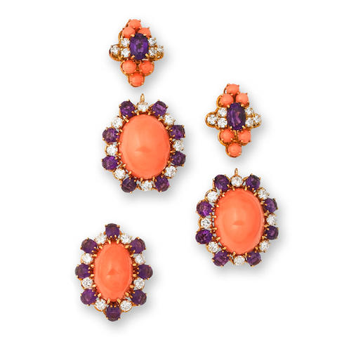 A coral, amethyst and diamond ring and earclip suite, by Van Cleef & Arpels, (3)