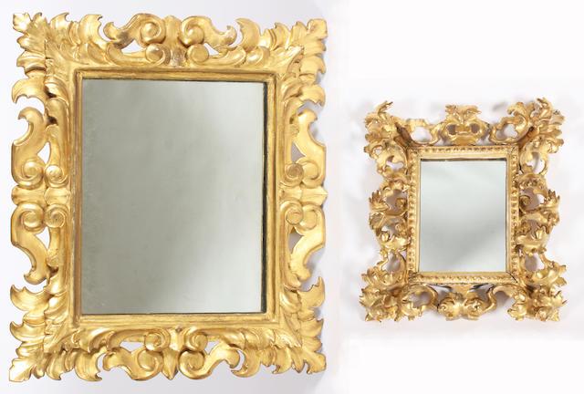 Two Florentine leaf carved giltwood frames