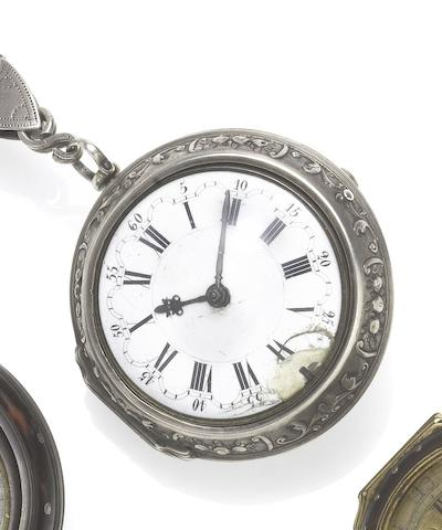 James Lloyd. An early 18th century silver repousse pair case pocket watchCirca 1720