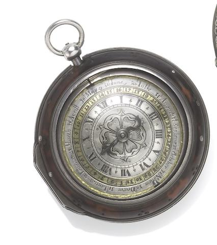 John Parker. A fine and rare late 17th century silver case pre-balance spring calendar pocket watch in associated tortoiseshell outer case  Circa 1670