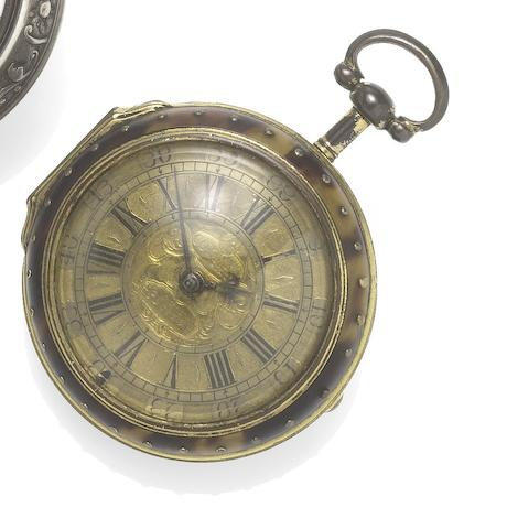 Colman, Ipswich. A fine and rare early 18th century underpainted horn pocket watchCirca 1720