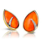 A pair of coral and diamond earclips, by Grima,