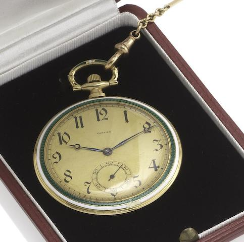 Cartier. A fine early 20th century gold and enamel decorated slim pocket watch with two colour gold bar link chainCase No.2032. Circa 1920