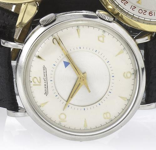 Jaeger LeCoultre. A fine stainless steel centre seconds alarm wristwatchMemovox, Movement No.902890, Case No.622169, 1940's