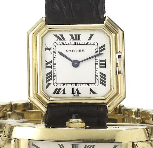 Cartier. An 18ct gold manual wind wristwatchCentiure, 1970's